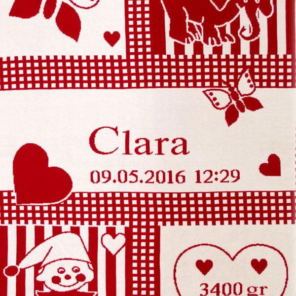 Manta personalizada roja Clara