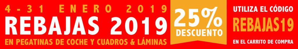 Banner Rebajas 2019 25% de descuento en pegatinas, cuadros y láminas