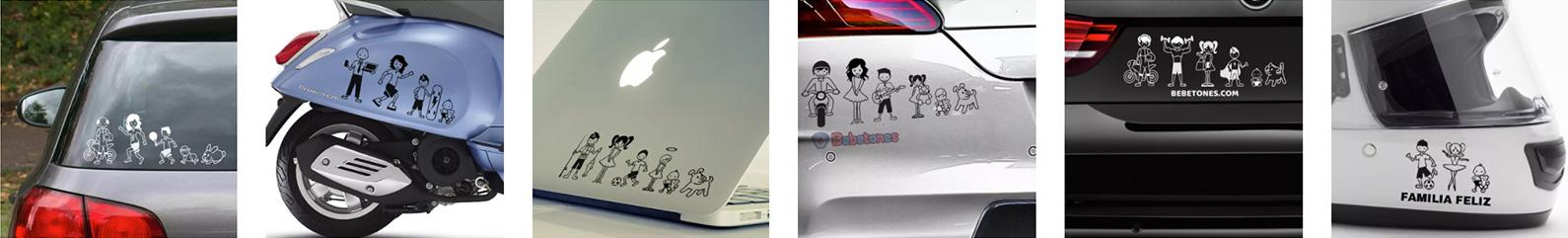 """Pegatinas personalizadas """"Mi Familia"""" sobre coche, portatil, moto, casco de moto etc."""