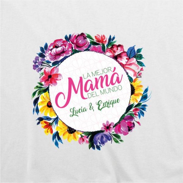 "Camiseta personalizada ""Flores para Mamá"" dibujo - blanca"