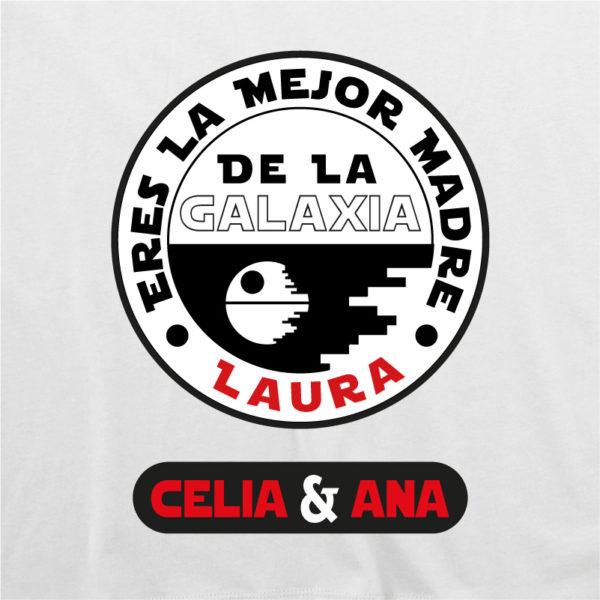 """Camiseta personalizada """"Eres la mejor Madre de la Galaxia"""" dibujo - blanca"""