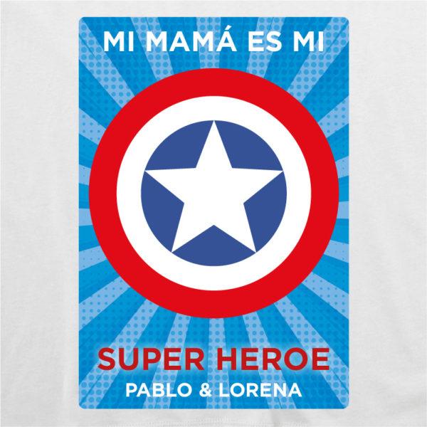 "Camiseta personalizada ""Mamá Super Capitan 2"" dibujo - blanca"