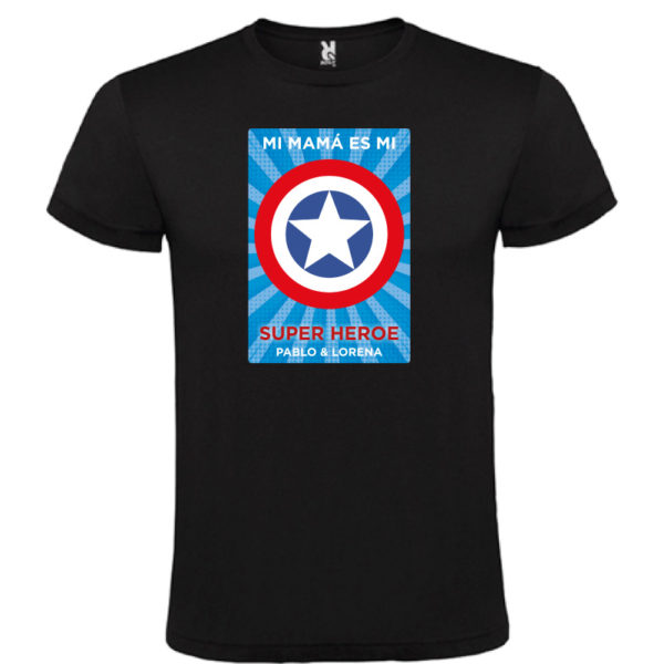 "Camiseta personalizada ""Mamá Super Capitan 2"" - negra"