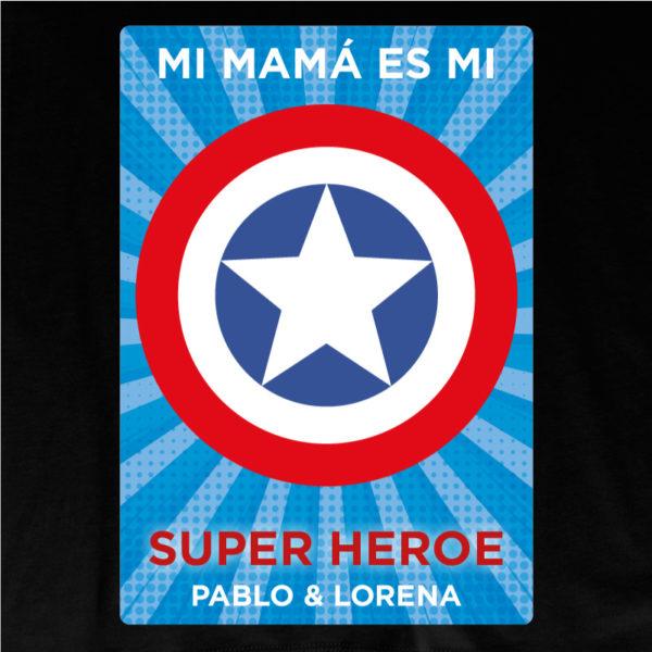 "Camiseta personalizada ""Mamá Super Capitan 2"" dibujo - negra"