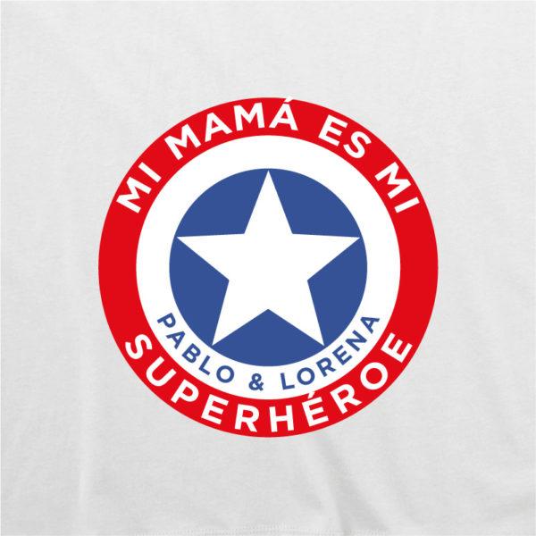 "Camiseta personalizada ""Mamá Super Capitan"" dibujo - blanca"