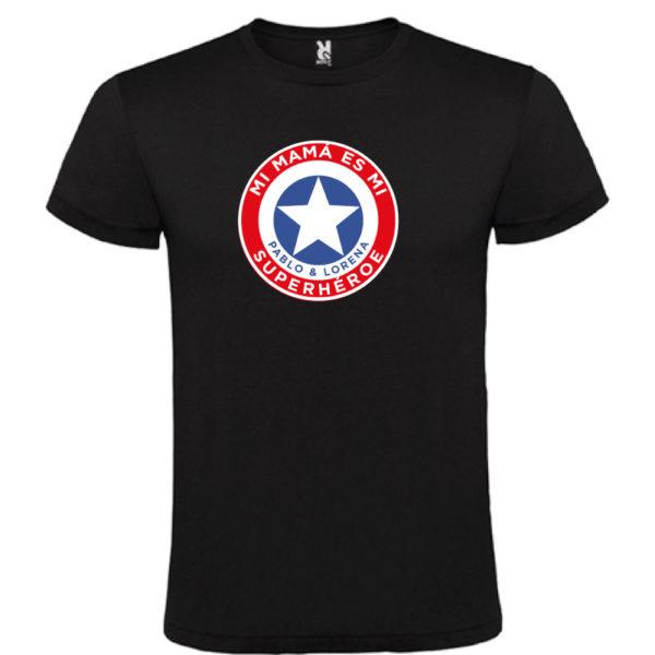 "Camiseta personalizada ""Mamá Super Capitan"" - negra"