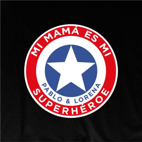 "Camiseta personalizada ""Mamá Super Capitan"" dibujo - negra"