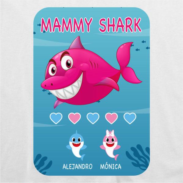 "Camiseta personalizada ""Mamá Shark"" dibujo - blanca"
