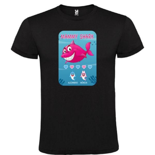 "Camiseta personalizada ""Mamá Shark"" - negra"