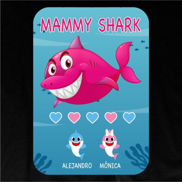 "Camiseta personalizada ""Mamá Shark"" dibujo - negra"