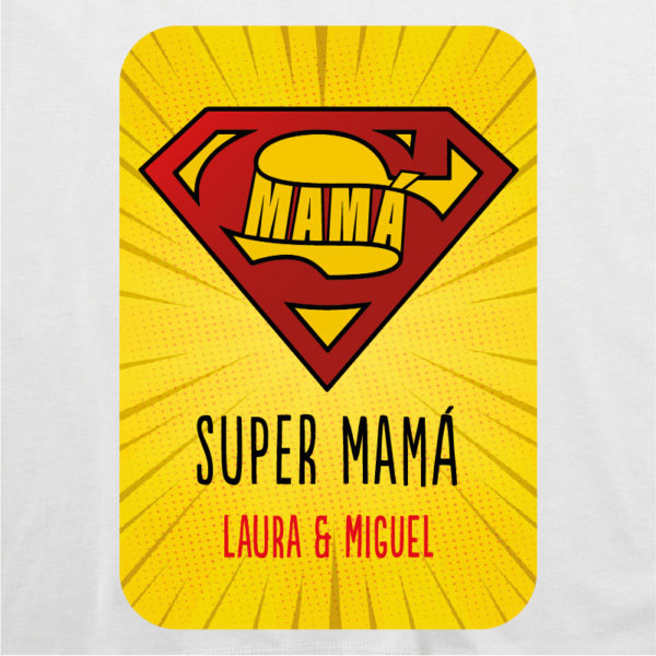 "Camiseta personalizada ""Super Mamá 2"" dibujo - blanca"