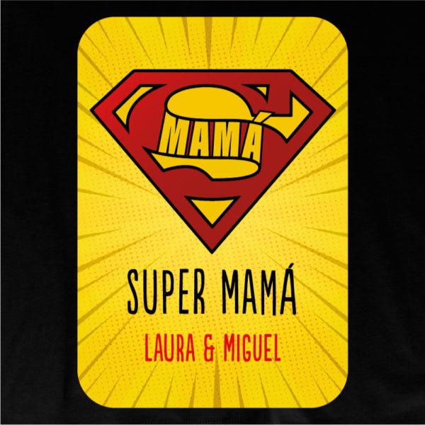 "Camiseta personalizada ""Super Mamá 2"" dibujo - negra"