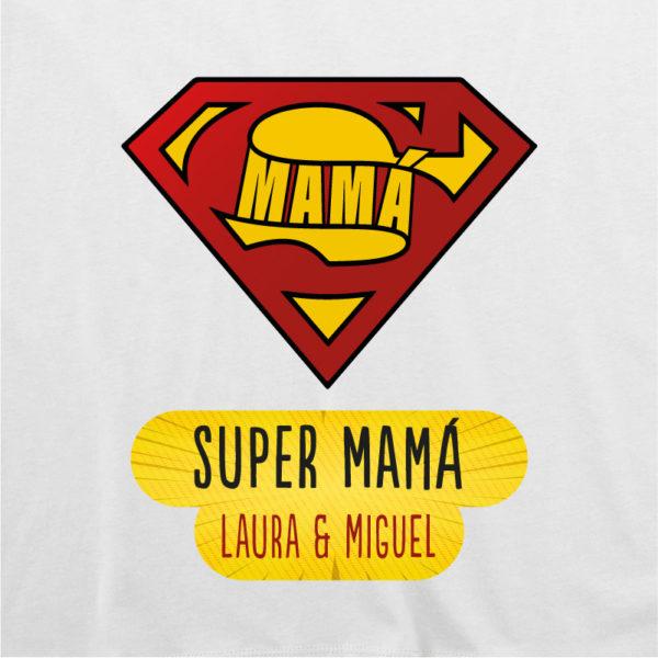 "Camiseta personalizada ""Super Mamá"" dibujo - blanca"