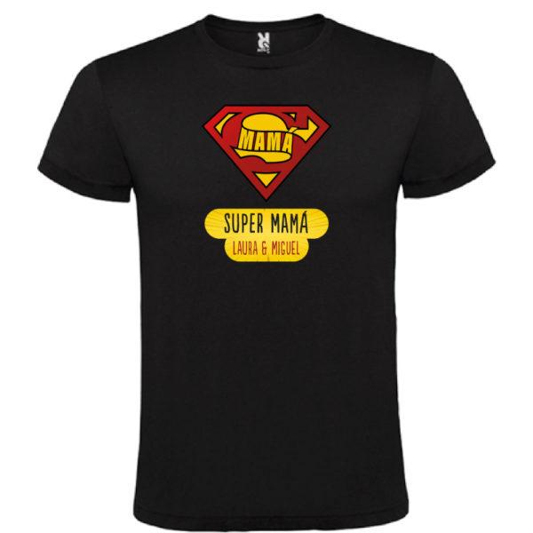 "Camiseta personalizada ""Super Mamá"" - negra"