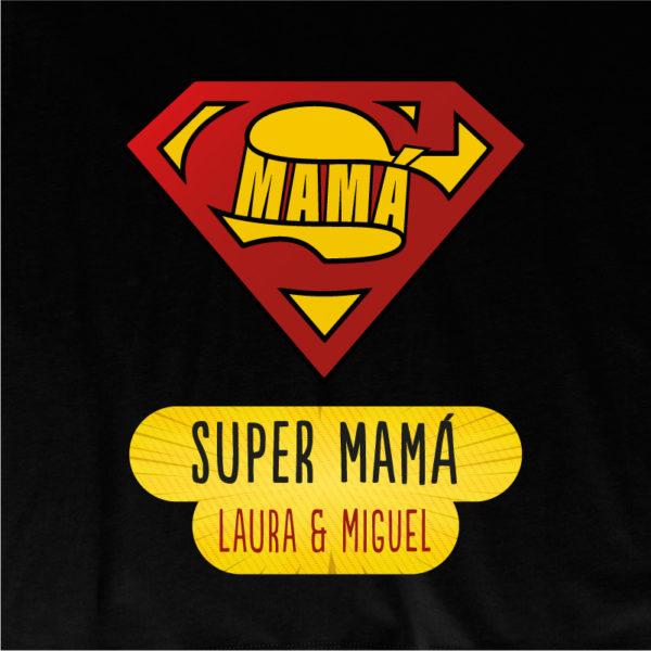 "Camiseta personalizada ""Super Mamá"" dibujo - negra"