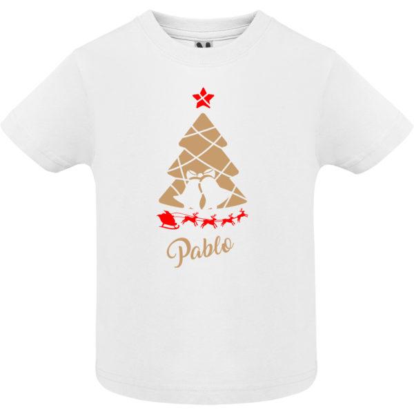 Camiseta Arbol de navidad con trineo en oro y rojo - Niño / Niña manga corta