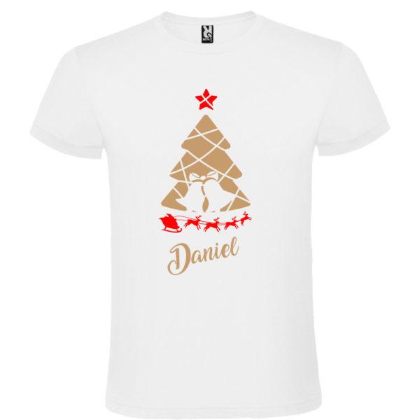 Camiseta Arbol de navidad con trineo en oro y rojo - Hombre manga corta