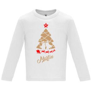 Camiseta Árbol de Navidad con el trineo de Papá Noel en Oro y Rojo