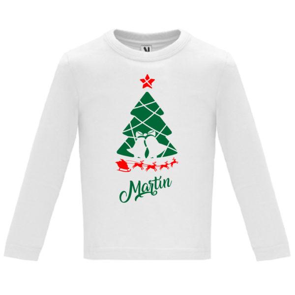Camiseta Arbol de navidad con trineo - Niño / Niña manga larga