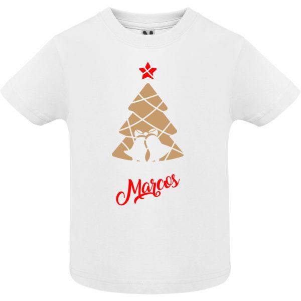 Camiseta Árbol de navidad con campanas en Oro y Rojo- Niño / Niña manga corta
