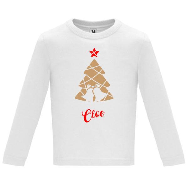 Camiseta Árbol de navidad con campanas en Oro y Rojo- Niño / Niña manga larga