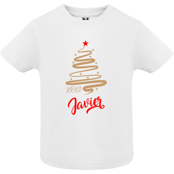 Camiseta Personalizada de Navidad - Arbol Jazz en Oro y Rojo - Niño manga corta