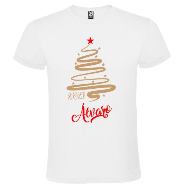 Camiseta Personalizada de Navidad - Arbol Jazz en Oro y Rojo - Hombre manga corta