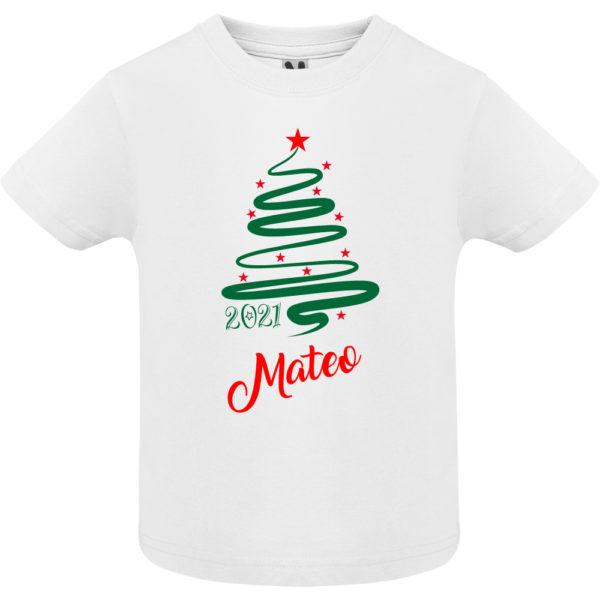 Camiseta Personalizada de Navidad - Arbol Jazz en Verde y Rojo - niño manga corta