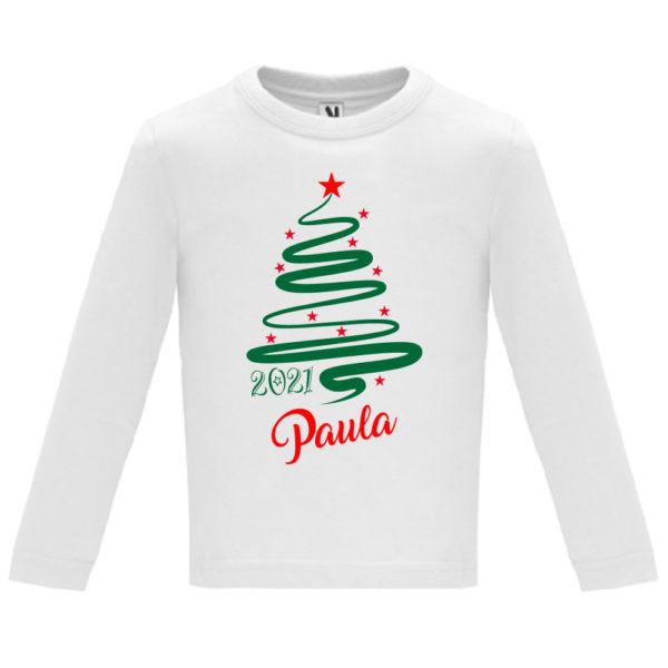 Camiseta Personalizada de Navidad - Arbol Jazz en Verde y Rojo - niño manga larga