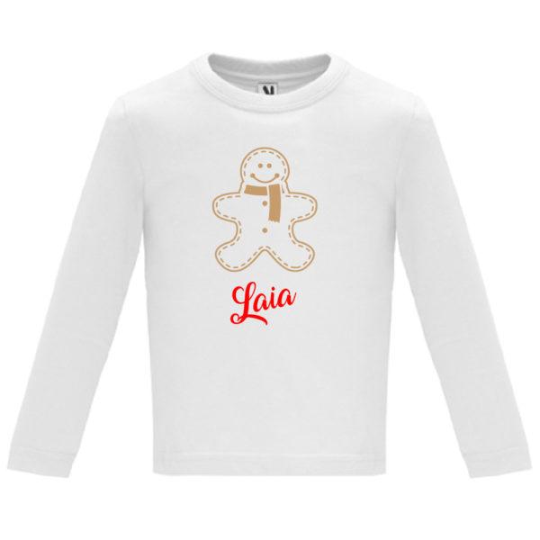 "Camiseta personalizada de navidad ""Galleta de Jengibre"" en Oro y Rojo - Niño / NIña Manga larga"