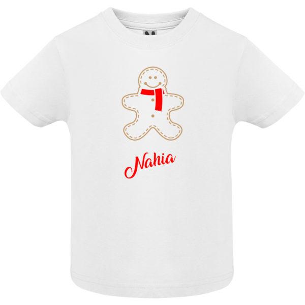 "Camiseta personalizada de navidad ""Galleta de Jengibre con bufanda Roja"" - Niño / NIña Manga corta"