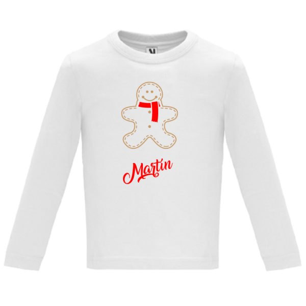 "Camiseta personalizada de navidad ""Galleta de Jengibre con bufanda Roja"" - Niño / NIña Manga larga"