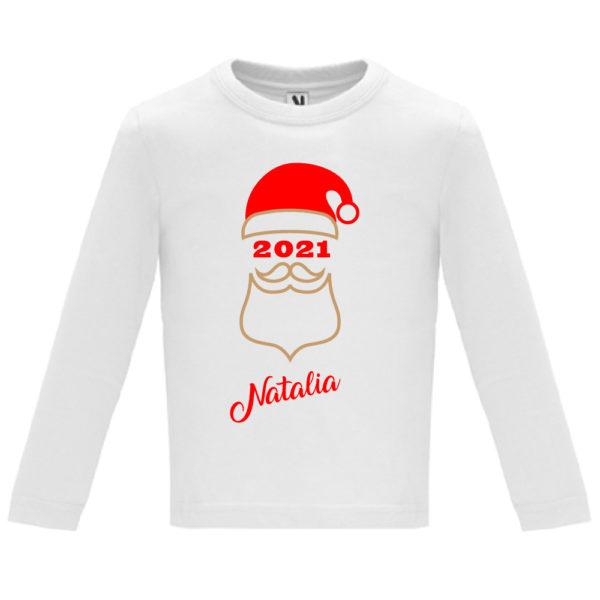 "Camiseta personalizada de navidad ""Papá Noel"" en Oro y Rojo - Niño / NIña Manga larga"