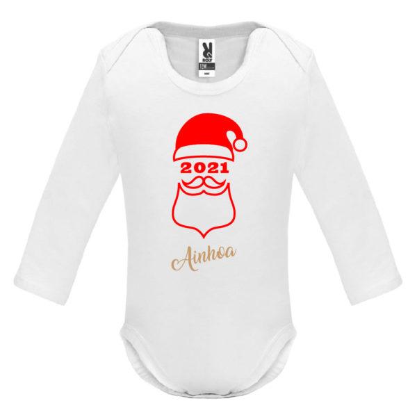 """Camiseta personalizada de navidad """"Papá Noel"""" en Rojo y Oro -Body - Manga larga"""