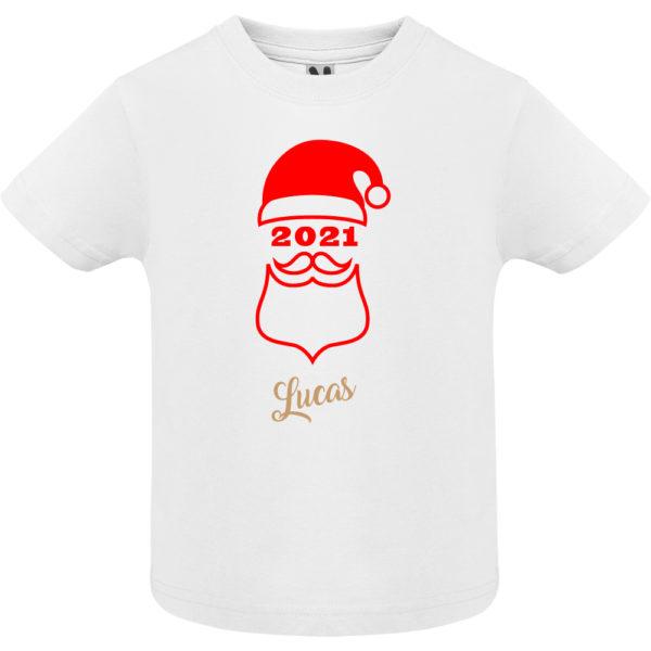 """Camiseta personalizada de navidad """"Papá Noel"""" en Rojo y Oro - Niño / NIña Manga corta"""