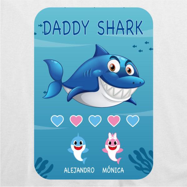 "Dibujo de camiseta personalizada ""Daddy Shark"" - blanca"