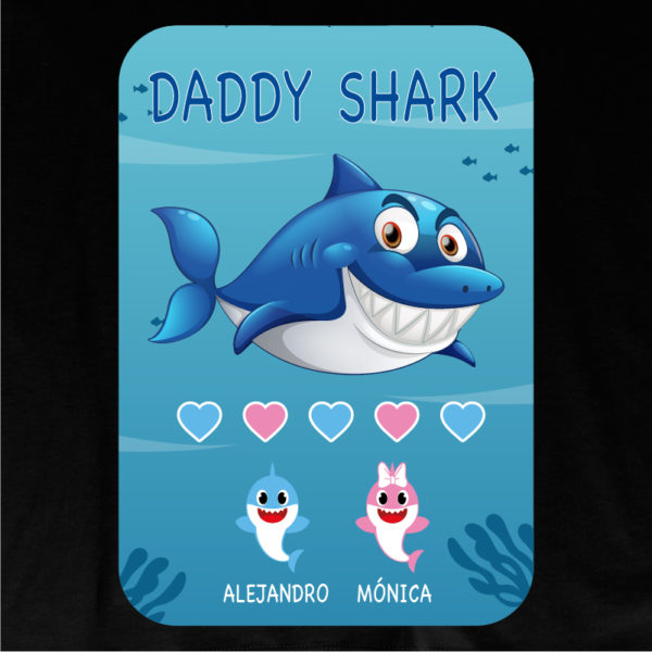 "Dibujo de camiseta personalizada ""Daddy Shark"" - negra"