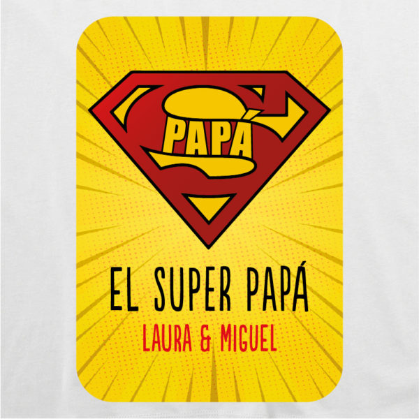 "Dibujo camiseta personalizada ""Super Papá"" - blanca"