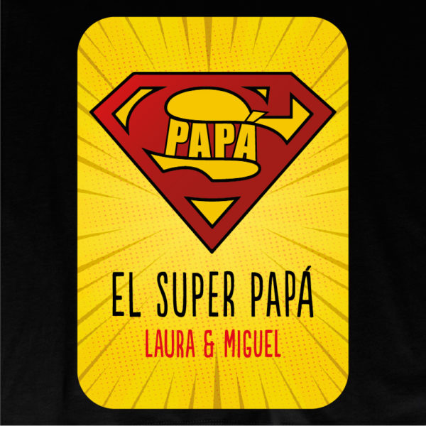 "Dibujo camiseta personalizada ""Super Papá 2"" - negra"