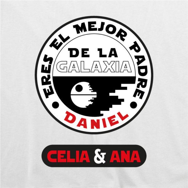 """Dibujo camiseta personalizada """"Eres el mejor padre de la galaxia"""" - blanca"""