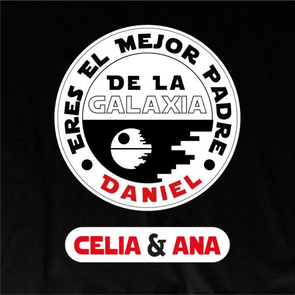 """Dibujo camiseta personalizada """"Eres el mejor padre de la galaxia"""" - negra"""