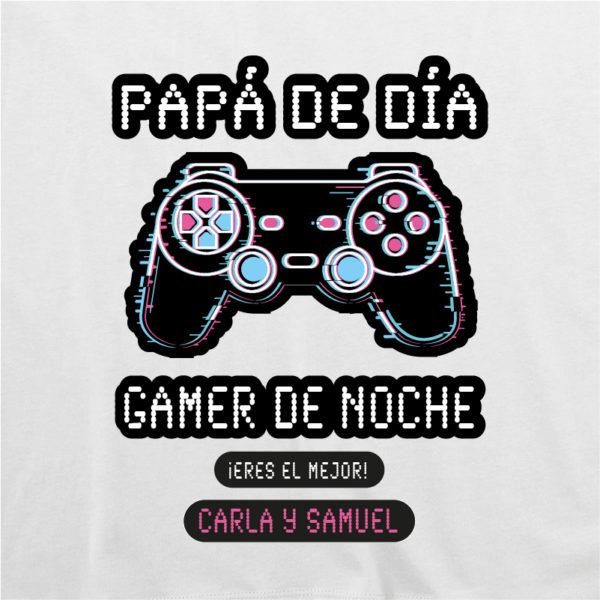 "Dibujo camiseta personalizada ""Papá Gamer mando negro"" - blanca"