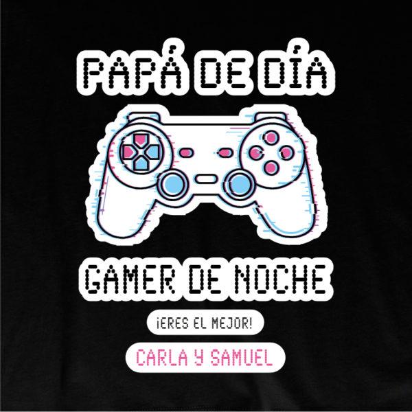 """Dibujo camiseta personalizada """"Papá Gamer mando blanco"""" - negra"""
