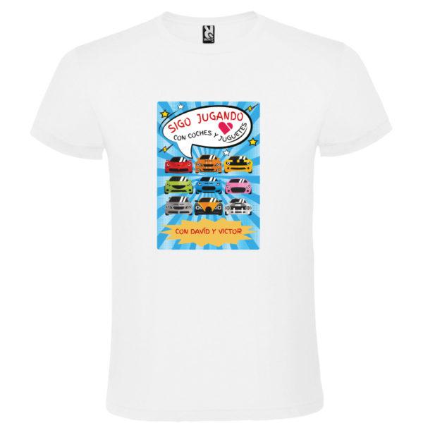 """Camiseta personalizada """"Sigo jugando con coches"""" blanca"""