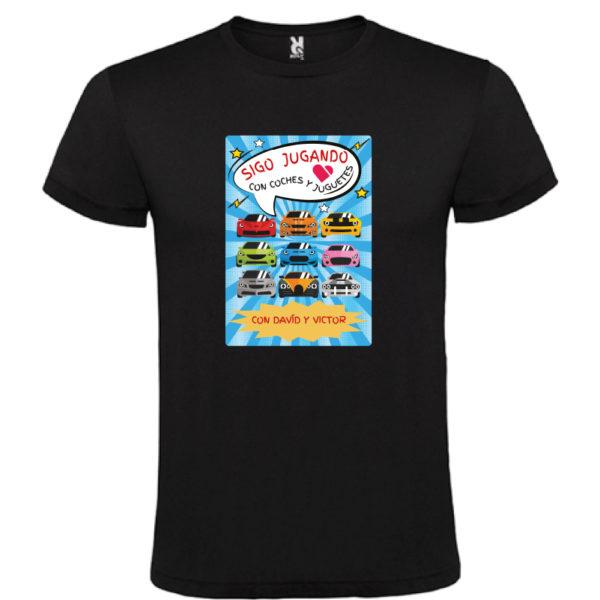 """Camiseta personalizada """"Sigo jugando con coches"""" negra"""