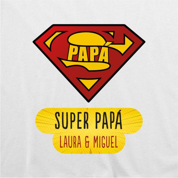 "Dibujo de camiseta personalizada ""Super Papá"" - blanca"