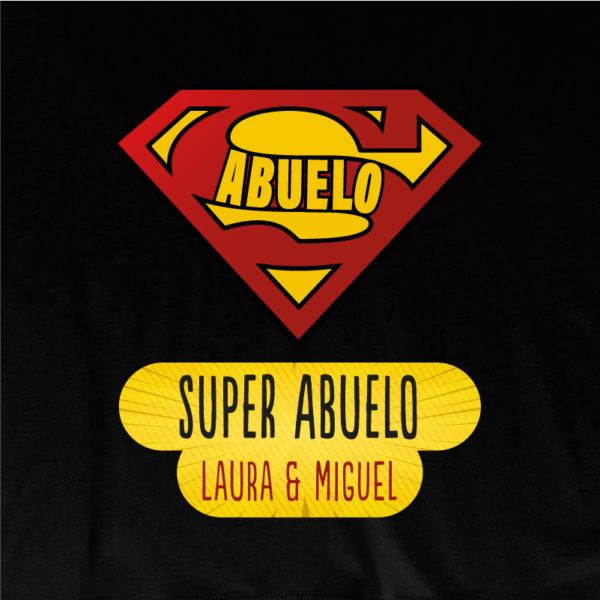 """Dibujo camiseta personalizada """"Super Abuelo"""" - negra"""