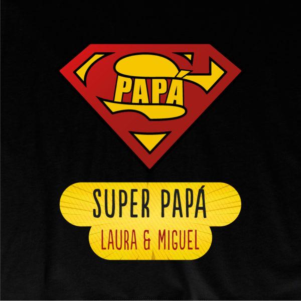 "Dibujo de camiseta personalizada ""Super Papá"" - negra"