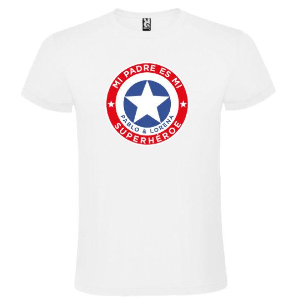 "Camiseta personalizada ""Mi padre es Super Capitán"" - blanca"