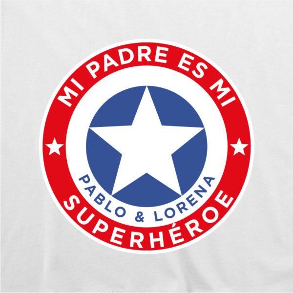 """Dibujo de camiseta personalizada """"Mi padre es Super Capitán"""" - blanca"""